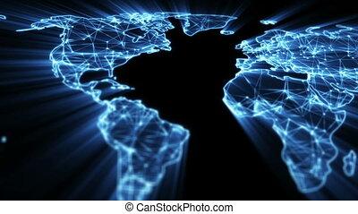 bleu, carte, seamless, incandescent, panoramique, mondiale, boucle