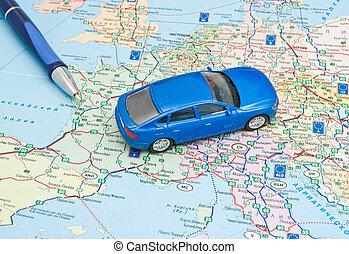 bleu, carte, stylo, voiture