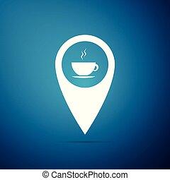 bleu, carte, tasse à café, isolé, plat, arrière-plan., chaud, vecteur, illustration, icône, indicateur, design.