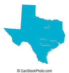 bleu, carte, texas