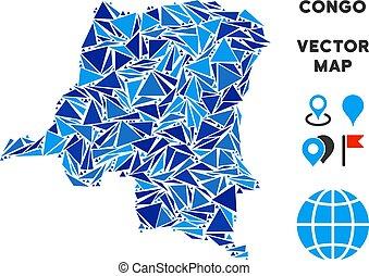 bleu, carte, triangle, congo, république, démocratique