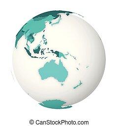 bleu, carte, turquoise, map., globe, politique, illustration, vecteur, vide, la terre, australia., 3d