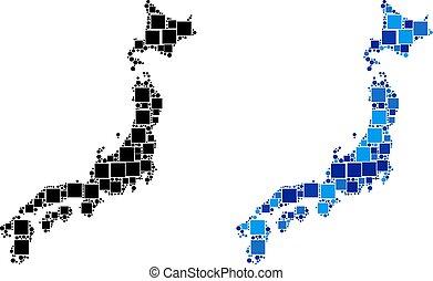 bleu, carte, variante, point, japon
