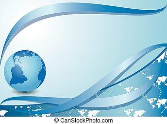 bleu, cartes, globe, fond