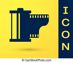 bleu, cartouche, arrière-plan., bobine, vendange, equipment., isolé, jaune, filmstrip, 35mm, vecteur, illustration, canister., photographe, icon., appareil photo, rouleau, pellicule, icône