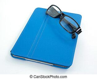 bleu, cas, folio, tablette, cuir, isolé, blanc, verres...