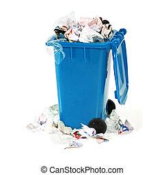 bleu, casier, débordement, déchets