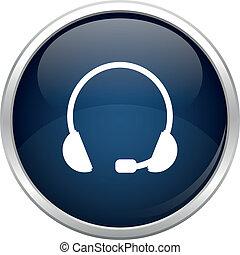 bleu, casque à écouteurs, icône