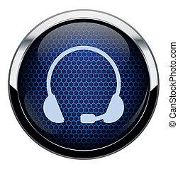 bleu, casque à écouteurs, icon., rayon miel