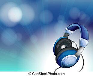 bleu, casque à écouteurs
