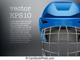 bleu, casque, classique, hockey glace, fond, visière