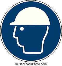 bleu, casque, mandatory, -, site, signe, construction, sécurité