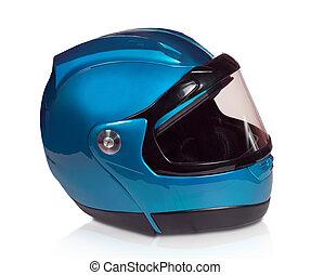 bleu, casque, motocyclette, lumière