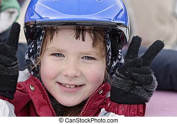 bleu, casque, vieux, années, skating-rink, 8, fille souriante, heureux