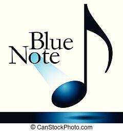 bleu, ceci, graphic., note, thème, musical