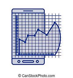 bleu, cellphone, graphique, silhouette, risque, financier