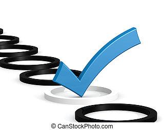 bleu, cercle blanc, marque contrôle