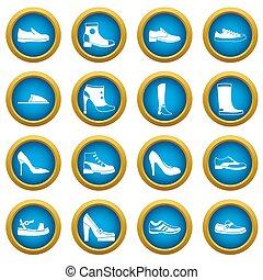 bleu, cercle, ensemble, chaussure, icônes