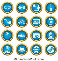 bleu, cercle, ensemble, hipster, icônes