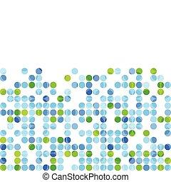 bleu, cercles, blanc, arrière-plan vert