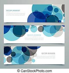 bleu, cercles, ensemble, en-têtes, vecteur, bannières
