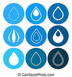 bleu, cercles, ensemble, icônes, eau, vecteur, gouttes