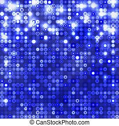 bleu, cercles, fond foncé, étincelant