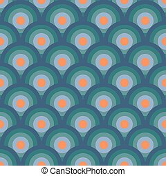 bleu, cercles, illustration., 60-s, modèle, seamless, ...