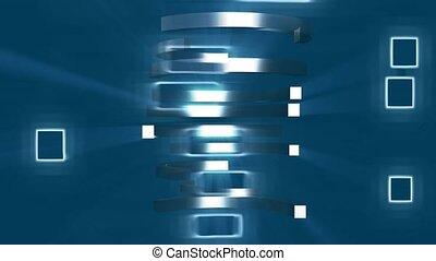 bleu, cercles, rectangles, moitié