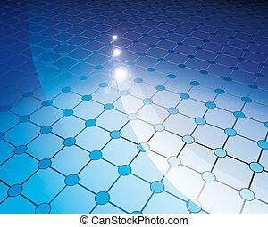 bleu, cercles, tuiles, plancher