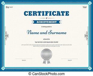 bleu, certificat, thème, vecteur, gabarit, accomplissement