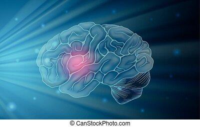 bleu, cerveau, humain, fond