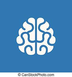 bleu, cerveau, icon., vecteur, fond