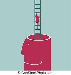 bleu, cerveau, montées, ladder., isolé, arrière-plan., homme affaires, utilisation, dehors