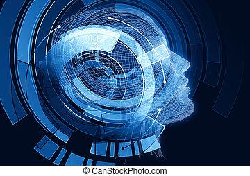bleu, cerveau, robot, numérique