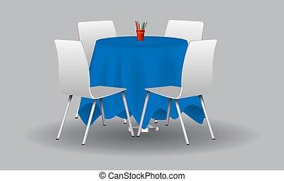 bleu, chairs., illustration., moderne, vecteur, table, blanc, rond