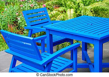 bleu, chaise bois, table jardin