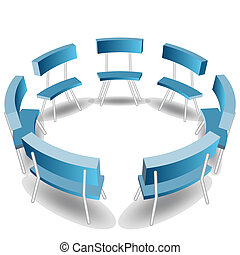 bleu, chaises, cercle