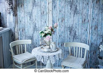 bleu, chaises, deux, vase, intérieur, tonalités, flowe