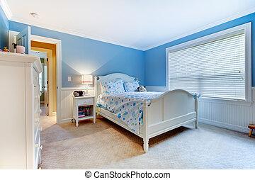 bleu, chambre à coucher, gosses, filles, interior.