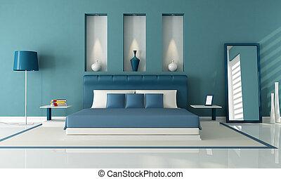 bleu, chambre à coucher