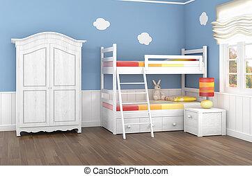 bleu, chambre coucher enfants