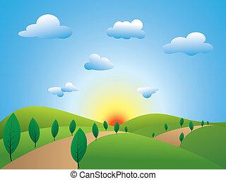 bleu, champs, ciel, printemps, arbres verts, paysage