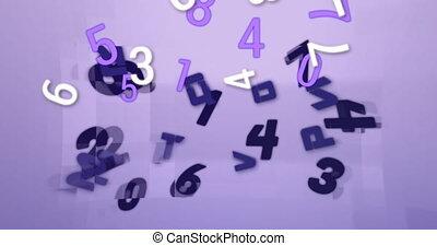 bleu, changer, nombres, contre, alphabets, arrière-plan numérique, animation, multiple