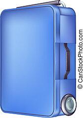bleu, chariot, moderne, cas