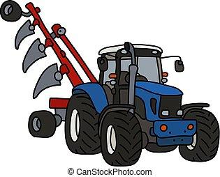 bleu, charrue, tracteur