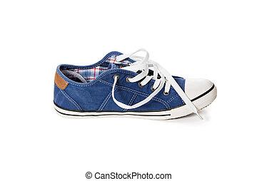 bleu, chaussure athlétique