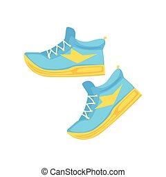 bleu, chaussures, athlétique, lumière, illustration, vecteur, paire, dessin animé