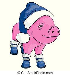 bleu, chaussures, claus, isolé, cochon, white., santa chapeau