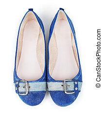 bleu, chaussures, jean, isolé, fond, blanc